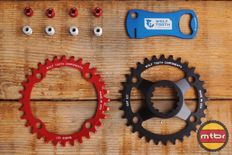 Wolf Tooth Components DropStop Chainrings, Rotor Truing Bottle Opener