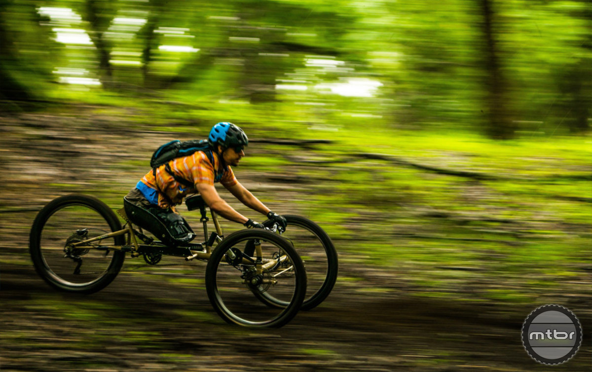 "The WTB sponsored MTB camp for veterans was all about giving back and ripping good times, exemplified here by Daniel ""Danimal"" Riley. Photo by Ken Viale Photography"