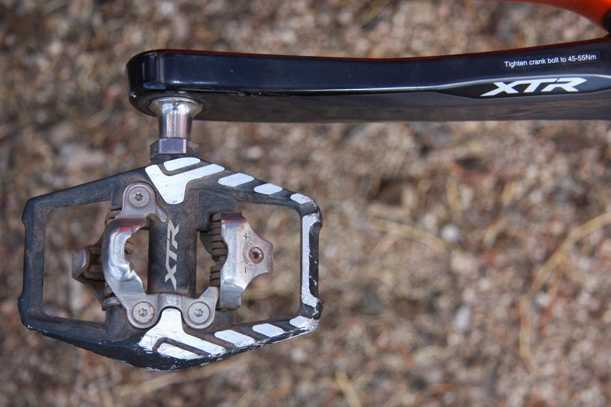 The latest Shimano XTR Trail pedals have an increased contact for a touch more stability. Photo by Jason Sumner