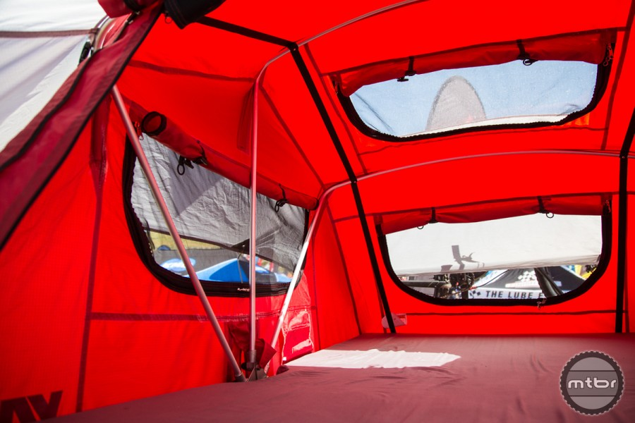 The Skyrise tent can be pitched quickly; the ladder and all hardware are included for ease of set up.