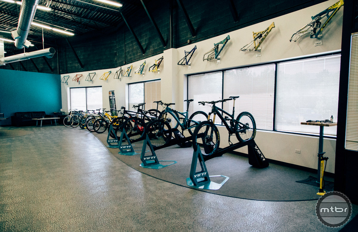 The Yeti showroom spans the gamut of mountain biking history.