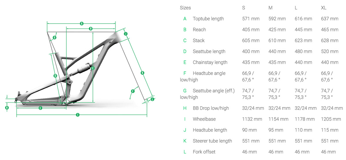 The smaller frame sizes use a rear triangle with a 435m chainstay, while the large and extra large frames use a 5mm longer rear end.