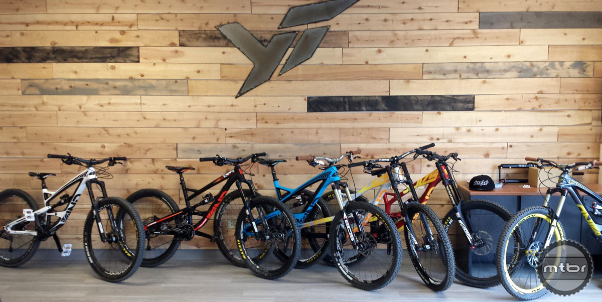 Line-up of YT bikes in their showroom.