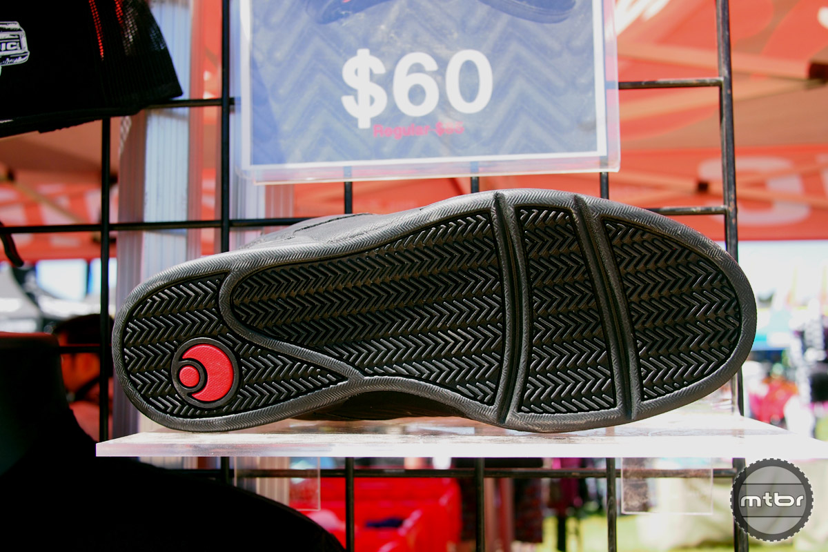 A shot of the tread of the Prophet, a shoe that has a slightly wider cut than a traditional cycling shoe.