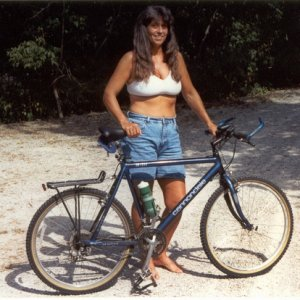 My wife with the Cannondale SM1000