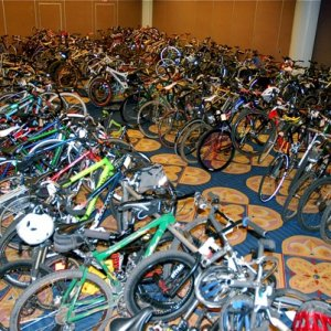 Packed indoor bike parking at the show