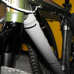 An aesthetic downtube and fork protection.