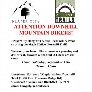 Maple Hollow (Draper) Downhill reconstruction meeting on Monday